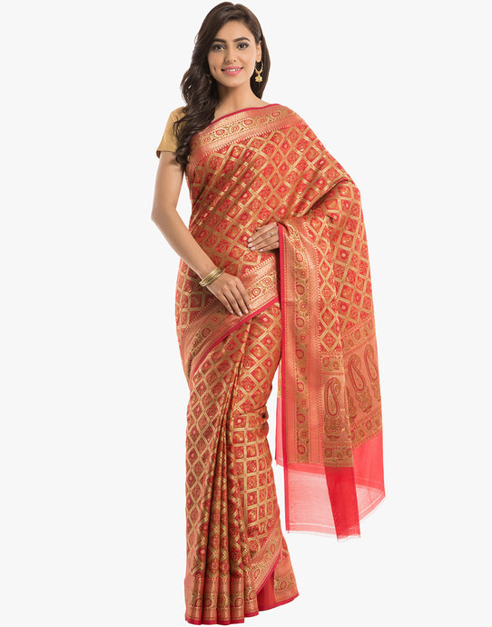 Banarasi Handloom Silk Tanchoi Saree With Floral Zari Border By Meena Bazaar - RED