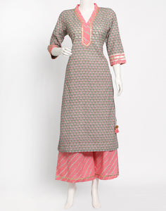 Dull Green Cotton Kurti with Palazzo