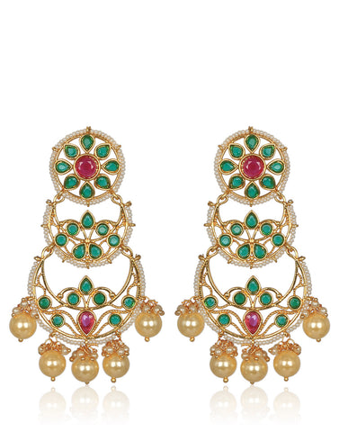 Meena Bazaar: Emerald & Ruby Studded Chandelier Earrings