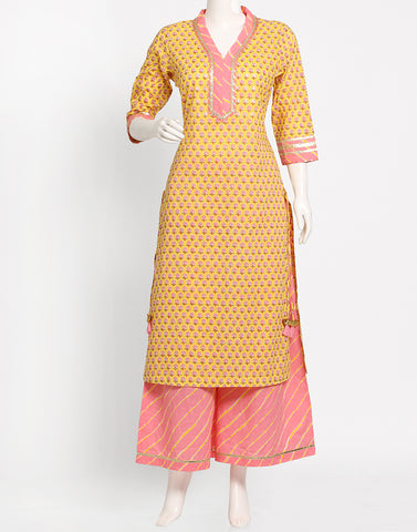 Yellow Pink Cotton Kurti with Palazzo