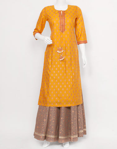 Mustard Grey Cotton Chanderi Kurti with Skirt