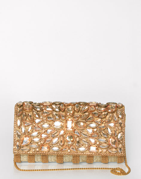 Golden Embroidered Clutch