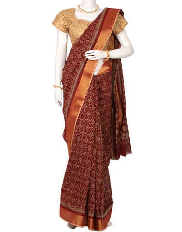 Maroon Woven Cotton Printed Saree