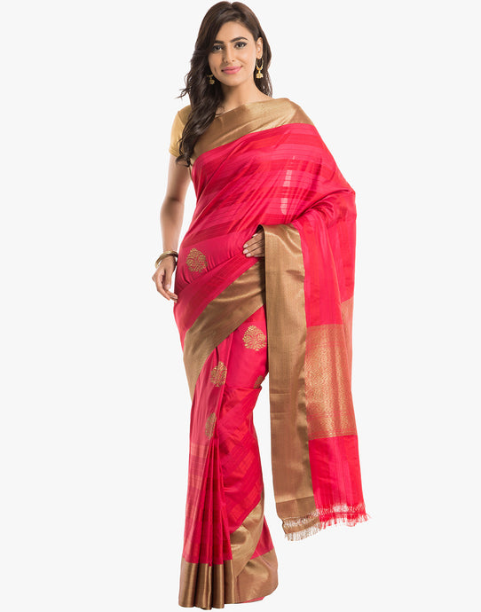 Banarasi Handloom Silk Saree With All-Over Zari Booti By Meena Bazaar