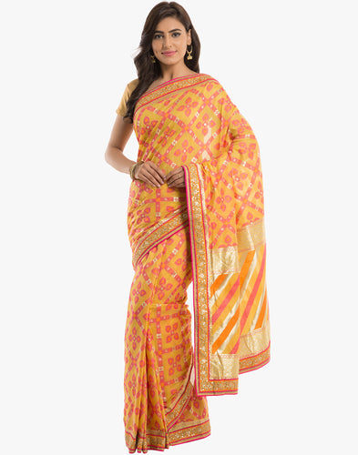 Embroidered Cotton Saree With Floral Patola Weave By Meena Bazaar