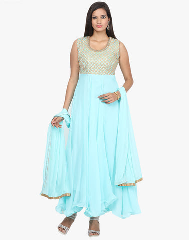Zari Thread Embroidered Georgette Anarkali Suit By Meena Bazaar