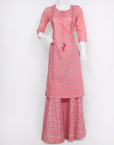 Peach Cotton Kurti with Palazzo