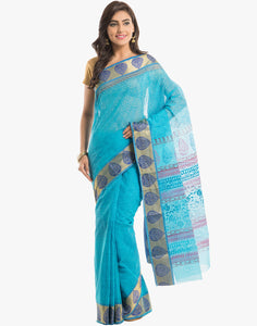 Self Printed Cotton Saree With Woven Border By Meena Bazaar