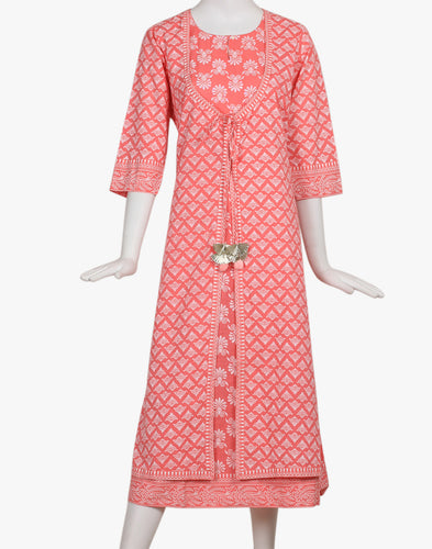 Meena Bazaar: Double Layered Floral Printed A-line Kurti