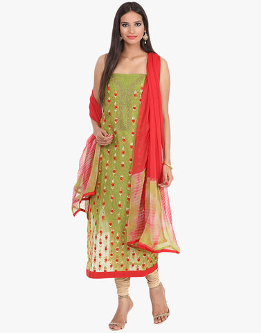 Unstitched Cotton Chanderi Suit With Floral Thread Embroidery By Meena Bazaar