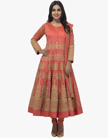 Meena Bazaar: Cotton Chanderi Anarkali Suit With Floral Zari Embroidery
