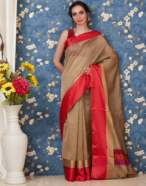 Beige Cotton Chanderi Woven Saree