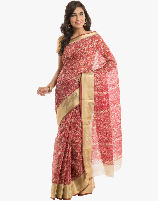 Abstract Printed Cotton Saree With Zari Border By Meena Baaar