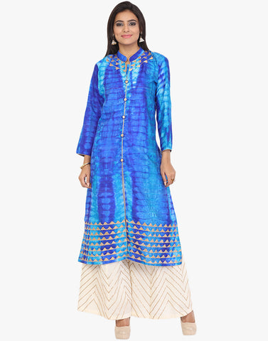 Shibhori Print Palazzo Suit With Gota Embroidery By Meena Bazaar