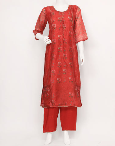 Rust Cotton Chanderi Kurtu with Palazzo