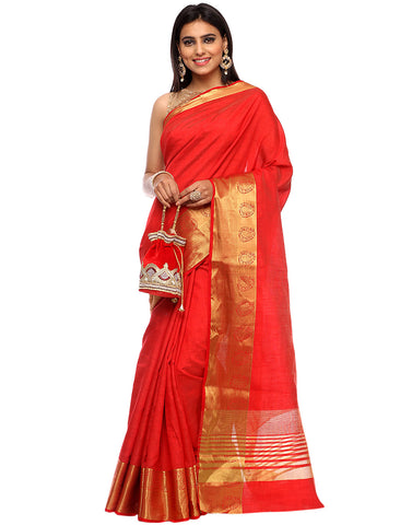 Plain Handloom Silk Woven Saree With Zari Woven Paisely Border By Meena Bazaar