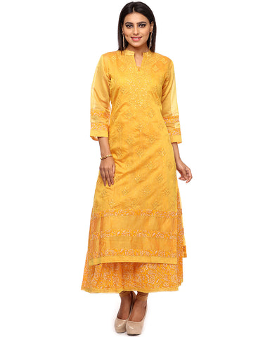 Double Layered Embroidered Cotton Chanderi Kurti By Meena Bazaar