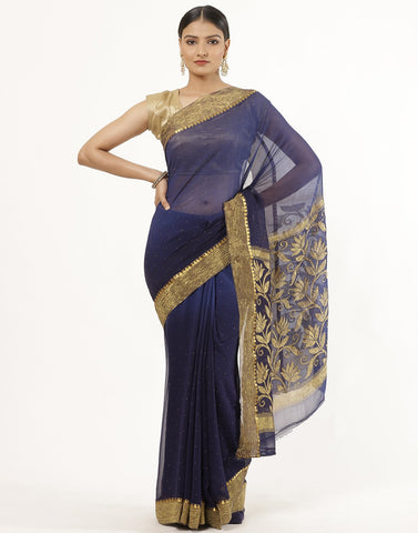 Stone Work Zari Border  Chiffon Saree