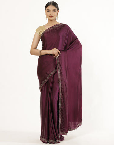Satin Silk Saree  With Stone Work