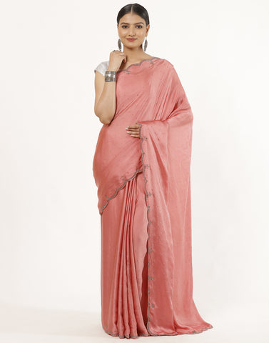 Pure Satin Silk Saree With Stone Work