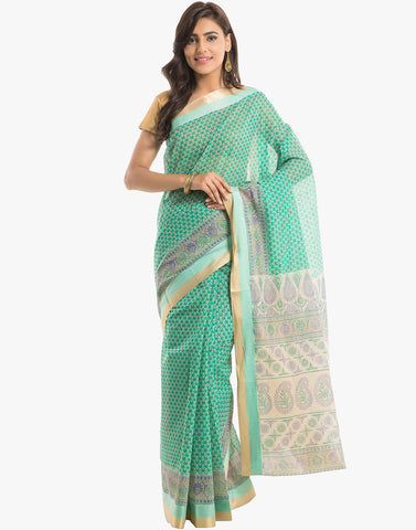 Abstract Floral Printed Cotton Saree With Floral Border By Meena Bazaar