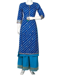 Blue & Firozee Cotton Kurti with Palazzo