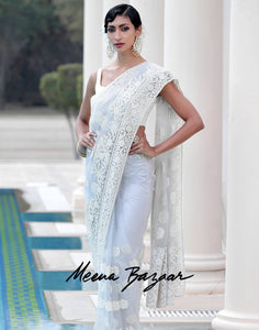 Grey Net Embroidered Saree