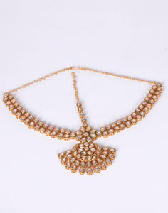 Gold Plated Kundan Headwear