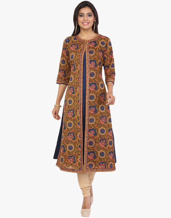 Double Layered Floral Printed Cotton Kurti By Meena Bazaar