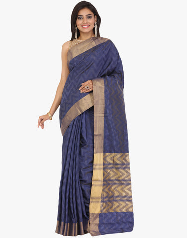 Self Jacquard Handloom Silk Saree With Woven Zari Border By Meena Bazaar