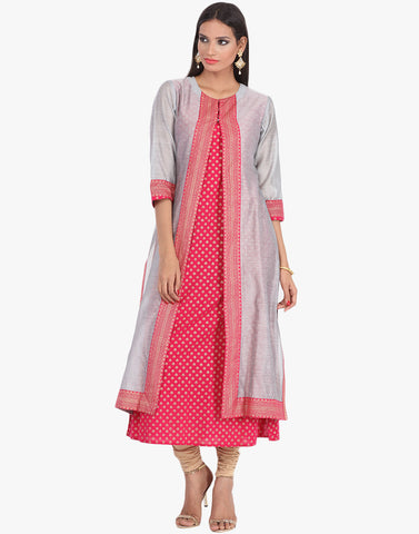 Khari Printed Double Layered A-line Cotton Kurti By Meena Bazaar
