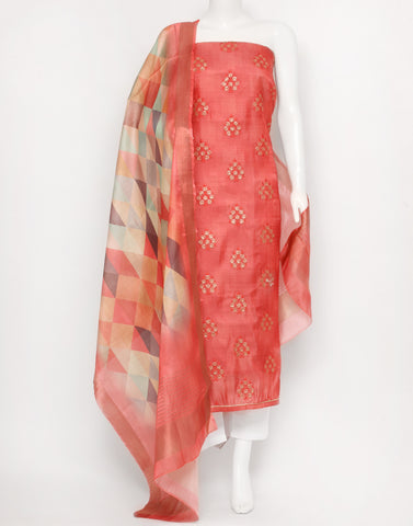 Coral Pink Art Chiffon Suit Set