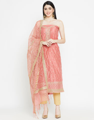 Coral Cotton Chanderi Suit Set