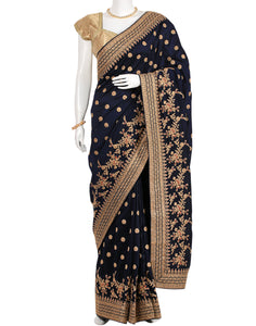 Navy Blue Woven Embroidered Saree