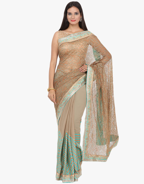 Half and Half Chantilly Lace Saree By Meena Bazaar