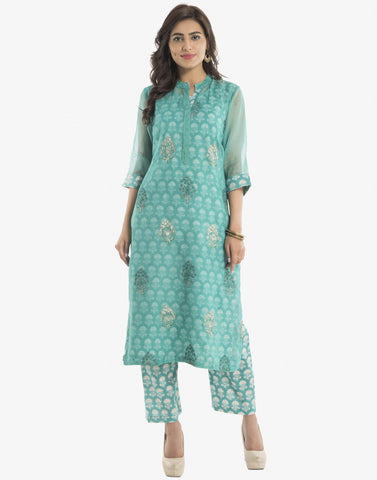 Floral Printed Cotton Kota Kurti With Palazzo By Meena Bazaar