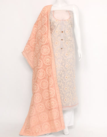 Grey Peach Cotton Chanderi Suit Set