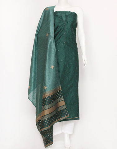 Bottle Green Cotton Chanderi Suit Set