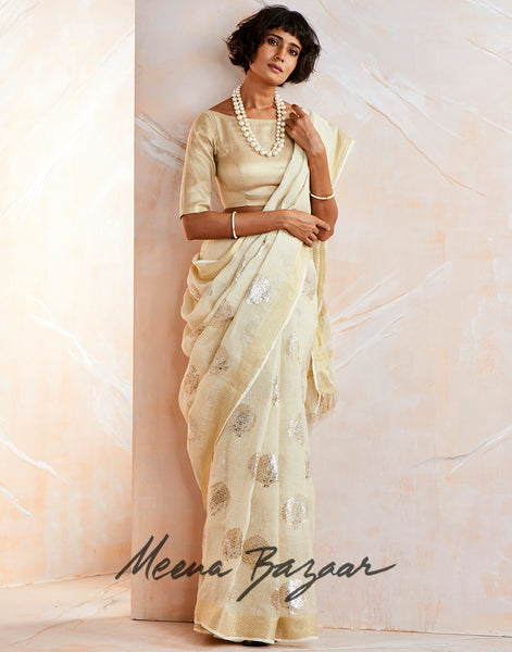 Cream Gold Cotton Printed Saree