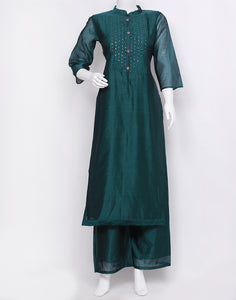 Rama Green Cotton Chanderi Kurti with Palazzo