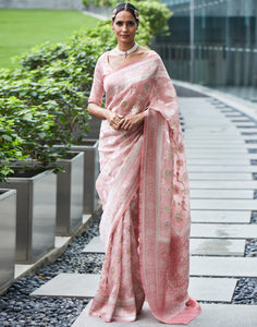 Dusty Pink Banarasi Kora Saree