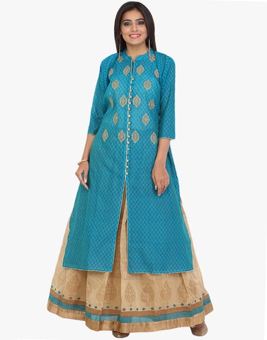 Thread Embroidered Cotton Chanderi Suit With Skirt By Meena Bazaar