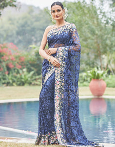 Navy Blue Lace Saree