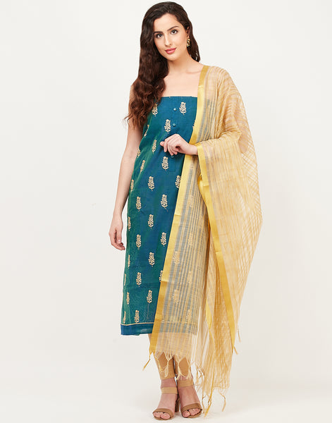 Blue Beige Chanderi Suit Set
