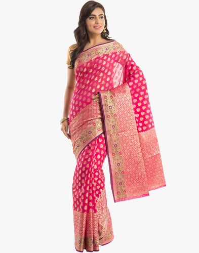Cotton Woven Saree With All-over Zari Booti & Floral Border By Meena Bazaar