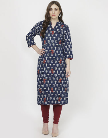 Navy Blue Cotton Kurti with Palazzo