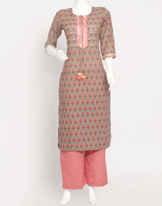 Dull Green Pink Cotton Kurti with Palazzo
