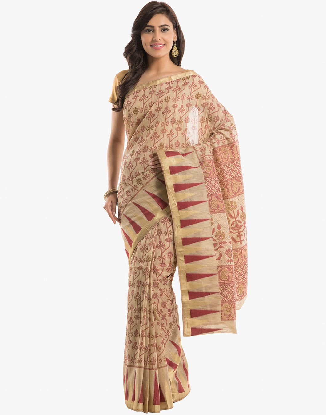 Abstract Floral Printed Cotton Saree with Temple Border By Meena Bazaar