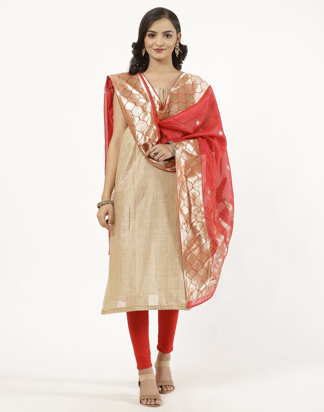 Chanderi Suit Set with Banarasi Dupatta