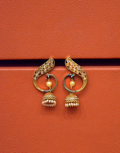 Meena Bazaar: Peacock Jhumki Earrings